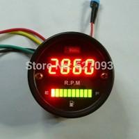 52mm DC 12V Red LED Fuel Gauge Oil meter digital tachometer 2in1 Instruments For Car/Motorcycle/Truck Free shipping