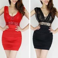 2014 summer fashion one-piece dress slim hip sexy dress step V-neck gauze patchwork tube top short skirt