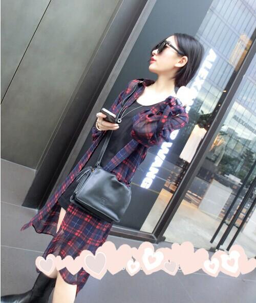 Pequeno camisa chiffon xadrez fina camisa de médio longo protetor solar de manga comprida camisa B141(China (Mainland))