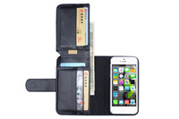 For Apple iPhone 5 5S New Arrival Luxury PU Leather Flip Wallet Credit Card Magnet Magnetic Case Cover+ 1pcs of Screen Protector