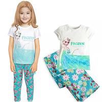 New Arrival 1set=2pcs 100% cotton 2-7 years old kids pajamas short sleeve Fall Winter pajamas sleepwear    X-292