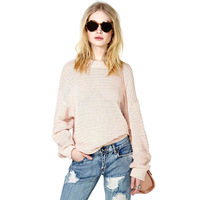 2014 Natural Color Pullover Women Loose Solid Casual Full Sleeve O-Neck Sweaters SW-017