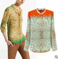 [B-31]   2014 spring new women's totem square retro print chiffon shirt long sleeve shirt stand chiffon shirt