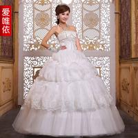 Love wedding dress bow fashion bride wedding formal dress 2014 sweet princess wedding dress
