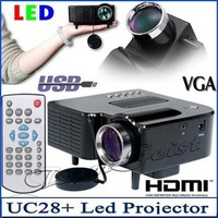 Portable Black UC28+ Digital LED projector Video Game proyector with HDMI VGA USB MircroSD input Multimedia Player Free Shipping