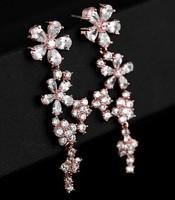 Luxury Real 18K Gold Plated Cubic Zircon Flower Designed Ladies Chandelier Dangle Long Earrings. Christmas Jewelry Gift