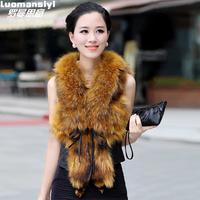 New Style 2014 Women Autumn And Winter Fur Coat Short Design Fox Fur Vest Raccoon Fur  Vest 9 Color 4 Size Free Shipping