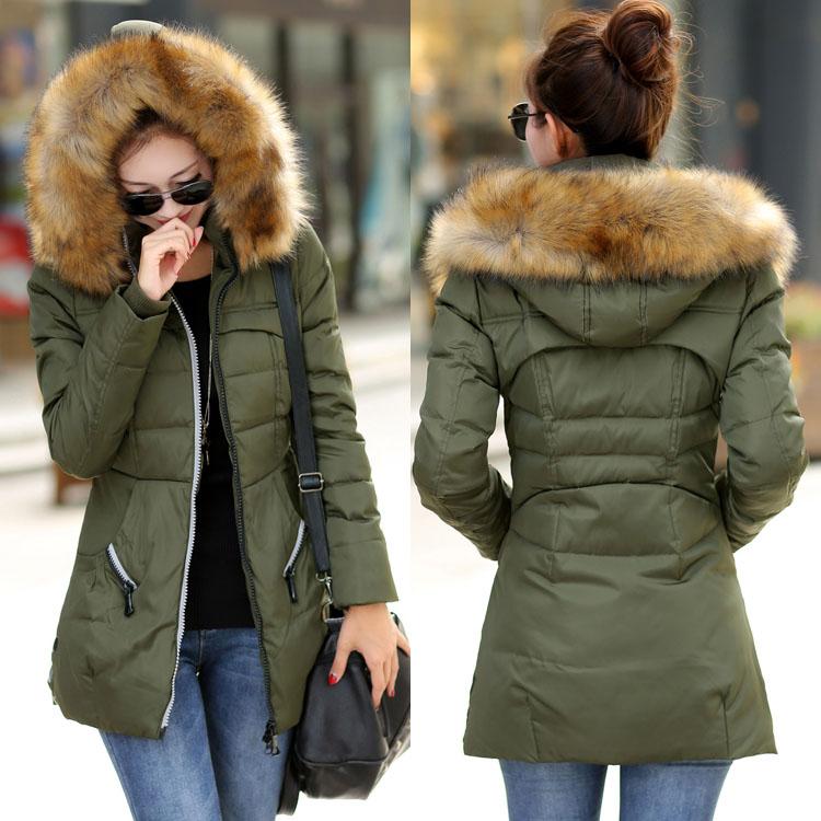 S M L XL XXL XXXL Plus Size Fur Collar Winter Coat Women Coat Long Down Jacket Fashion Brand Black Red Army Green Fur Coat(China (Mainland))