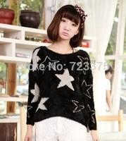 2014 South Korea Fashion brand New women autumn/winter pullover sweater pentagram v-neck loose sweater Lady mohair Knitwear coat