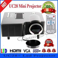 Wholesale 10pcs/lot UC28+ HDMI Digital LED projector Video Game Projectors input HDMI VGA USB MircroSD Black Multimedia Player