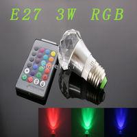 E27 3w RGB Crystal LED Light Silver Small masonry Bulb With IR Remote Controller (85V-265V)