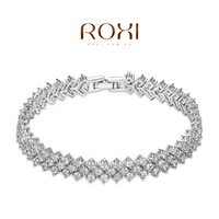 ROXI 2014 Women Bracelet Pulseiras platinum Jewelry Crystals Bangles High Quality Gift 752 Free Shipping