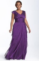 Free shipping! MBD021 Plus Size Purple Chiffon Floor Length Sexy Mother of the Bride Dresses vestido de madrinha