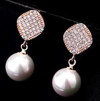 Elegant Simulated Pearl Hanging Women Zircon Korean Style Women Fashion Dangle Earrings for Wedding Jewelry