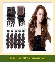 Grade 6A Brazilian Loose Wave 4pcs Hair Extension with 1 Middle Part Lace Closure Bleached Knots, 5pcs lot Julia Queen Hair