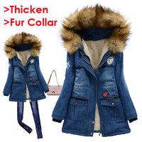 New Korean Winter Women Fur Hooded Denim Cotton-padded Jacket Lady Slim Long Style Thicken Coat Warm Jeans Overcoat