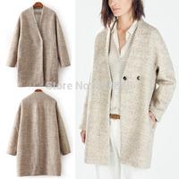 2014 New Trendy Women's Winter Chic Elegant Women A Button Warm Wool Blend Boyfriend Jacket Long Coat Khaki Outerwear S M L