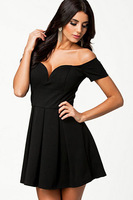 New 2014 Black Sexy Drop-shoulder Skater Dress V-Neck Pleated Dress  LC21513