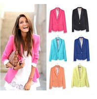 2014 Za hot Women's Foldable comfortable Blazers Candy color lined with striped Z suit Cotton Single Button Vogue Jackets Coat