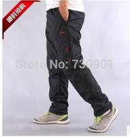 2014 Wholesale Plus Velvet Sticking Winter Pants Big Size Casual Male Waterproof  Loose Warm Trousers