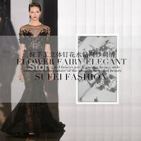 Handmade three-dimensional applique rhinestone wedding dress formal dress gauze embroidery lace cloth fabric