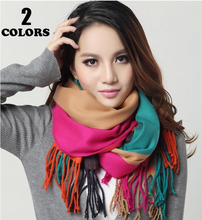 Newest Top Design Thicken Lengthen Imitation Cashmere Scarf Fashion Stitching Style Winter Women Brand Scarves Warm Pashmina(China (Mainland))