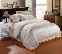 2014 new european style silk jacquard bedding set 4pcs 8color ,king/queen,duvet cover + bed sheet + pillowcases,free shipping