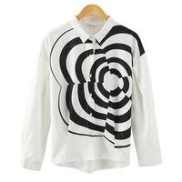 2014 New Fashion European and American Visual Impact Black Corrugated Printed Blusas Femininas Slim White Women Blouse