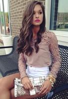 The women's tops 014 new embroidery lace stitching chiffon long sleeved T-shirts and camisa chiffon
