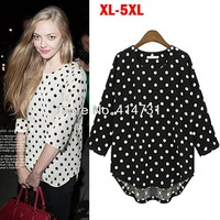 5XL Plus Size Fat Women Clothing 2014 Spring Autumn Europe Style Polka Dot Loose Chiffon Shirt Female Half Sleeve Chiffon Blouse