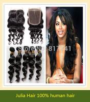 Peruvian Virgin Hair 5pcs lot Loose Wave Middle Part Lace Closure With 4pcs Bundles Hair Julia Queen Human Hair Weft Extension