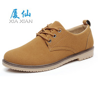 Male 2014 casual breathable round toe lacing genuine leather solid color nubuck leather