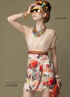 High quality European building cars patterns hand painted gentle women fashion silk chiffon slim hip summer dress 2014 brand