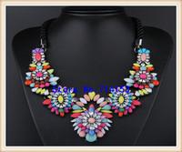 Purple Shourouk Necklace Jewelry Flower Bib Cluster Necklace Statement Bib Necklace Pendant Bubble Rainbow Flower Necklace