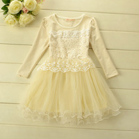 2014 New,girls princess dress,children autumn lace dress,long sleeve,cotton,embroidery,pink/apricot,5 pcs / lot,wholesale,1710