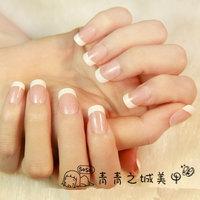 New fashion women false nails french style natural Fake Nails artistic Nail Tips 24 Pcs