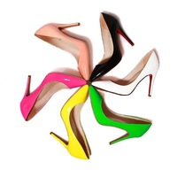 new 2014 women's patent leather pumps shoes woman high heels ladies macaron candy colors pointed toe dress shoes pumps for women