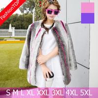 F1291 2014 Plus Size Winter Women Middle Long O-neck Faux Mink Fur Coats Vertical stripes Fur Outerwear Overcoat Female