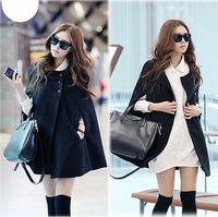 2014 women's New winter Korean Cool cape coat Batwing wool coat jacket casual loose women outwear