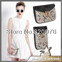 2014 New Fashion Colorful Rhinestone Diamond Set Auger Handbag Women mini shoulder Diagonal Packet Lady Korean Mobile Phone Bag