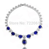 Sapphire Silver Butterflylong Necklaces pendants women  jewelry statement necklace
