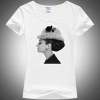 new 2014 blusas femininas fashion Angel Hepburnl print short sleeve casual women t-shirt  100% cotton quality  tshirts