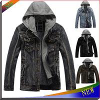 2014 New Man Hoody Jackets Brand Men's Coat Moleton Hoodies Sweatshirt Mens Jeans Autumn and Spring Men Clothing Denim Jacket