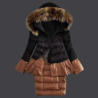 High Quality Winter Coat Jacket Women Down Jackets Long With Fur Collar Ladies Goose Down Parkas 2014 Black Grey Lady Down Coats