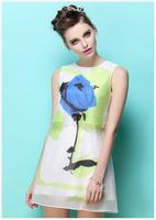 Print single blue rose flower chiffon faux twinset one piece dress 2014 summer women's fashion knee length sleeveless sundress