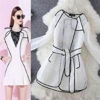 Summer Thin slim air condition coat autumn windproof jacket 2014 fashion Female elegant OL lace medium-long outerwear women