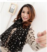 2014 New Stylish Girl Long Soft Silk Chiffon Scarf Wrap Polka Dot Shawl Scarves For Women Hot Sale Georgette Shawls