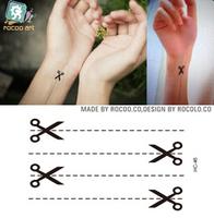New Fashion Body Art Temporary Removable scissors Tattoo Stickers Waterproof environmental body tattoo ear tattoo