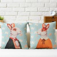 IKEA Bunny  Mr. Rabbit and girls Cute cartoon Animal cotton pillow cushion cover Square Pillow case Home Decor sofa cushions