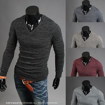 Трикотажные мужчин свитер с длинными рукавами v-образным вырезом мужской свитер 4 цвета